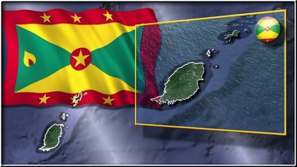 Grenada flag and map animation