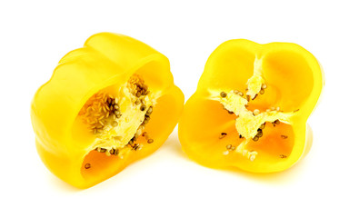 Chopped yellow capsicum with seeds