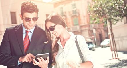 Handsome Business Man Woman Team Walking Urban Street Discussing