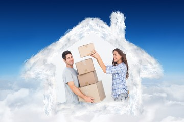 Composite image of woman giving boxes to her husband
