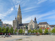 Cathedral and statue of Peter Paul Rubens in Antwerp - 75125546