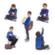 Set of portraits schoolboy with books. Isolate on white backgr