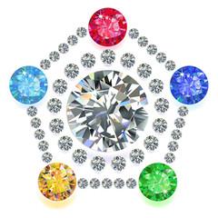 Pentagon composition colored gems set