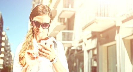Business Woman Success Successful Job Manager Using Smartphone