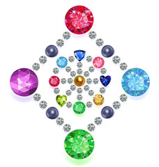 Rhombus-circle composition colored gems set