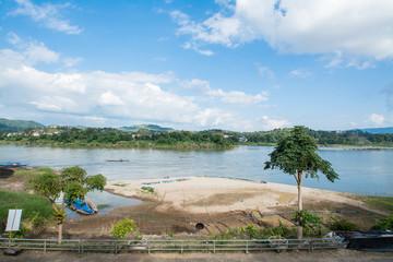 Khong river with bluesky  ,Chiangkhong in Chiangrai ,Thailand