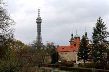 Lookout tower and church of St.Lawrence, Prague