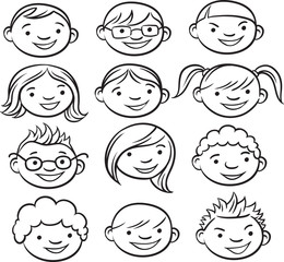 whiteboard drawing - smiling kids faces
