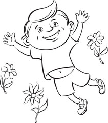 coloring book - boy jumping with flowers
