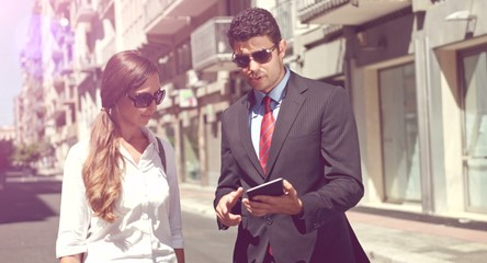 Attractive Young Business Team Man Woman Discussing Project