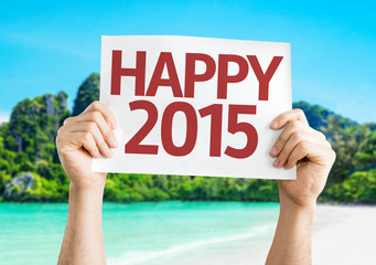 Happy 2015  card with a beach background