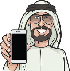 arab man showing a mobile app on a smart phone