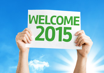 Welcome 2015 card with a beautiful day