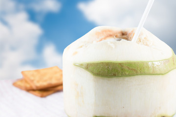 Fresh coconut with crackers