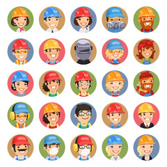 Builders Cartoon Characters Icons Set1.3