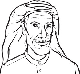 whiteboard drawing - portrait of a smiling arab