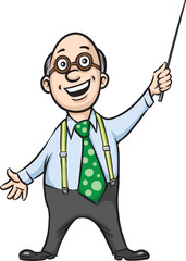 smiling professor with pointer