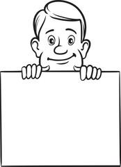 whiteboard drawing - cartoon businessman with blank placard