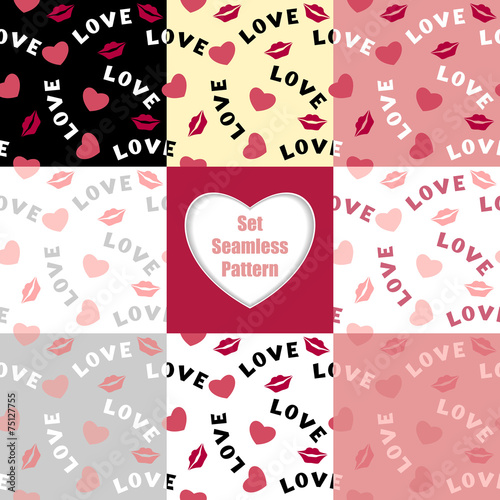 Foto op Canvas Kunstmatig Set Seamless pattern with hearts lips and inscription love