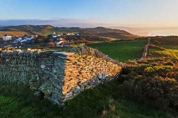 Stone Wall and Coastal View near Mortehoe in North Devon, Englan