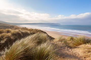 Sand Dunes and Woolacombe Beach