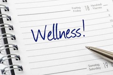 Terminkalender mit dem Eintrag Wellness