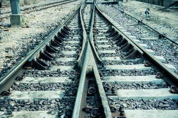Old rail way in vintage style