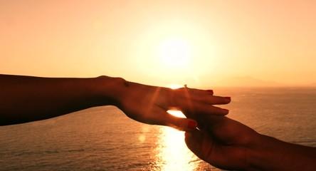 Romance Romantic Wedding Proposal Sunset Sea Beach Vacation Man