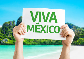 Viva Mexico card with a beach on background