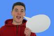 Mann mit Sprechblase