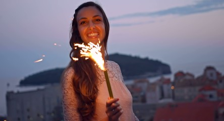 Beautiful Woman Dancing Fireworks Sparkler Fire Sunset Dusk
