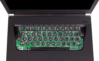 Laptop with old fashioned typewriter keys