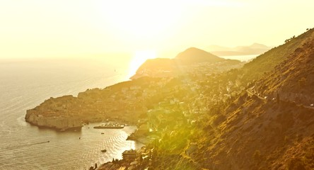 Sunset Over Cityscape Old Town Orange Colors Mountain Sea