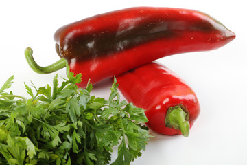 Peppers and parsley whit white background