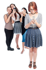Bullying girls using smartphones