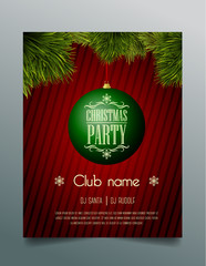 Christmas party flyer template - green bauble
