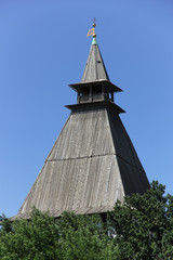 tower with  woooden roof