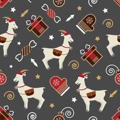 Seamless сhristmass pattern of goat