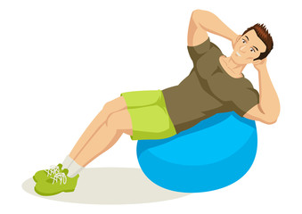 Cartoon illustration of a man exercising using fitness ball