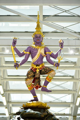 Thai Traditional statue in Suvanaphumi Airport