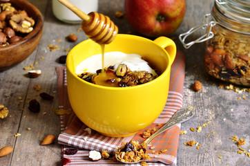 Homemade granola,healthy breakfast.