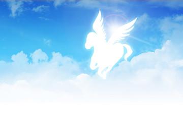 Pegasus flying on clouds