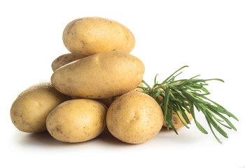 Raw potatoes with rosemary