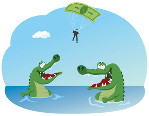 Businessman with dollar bill parachute flying above crocodiles