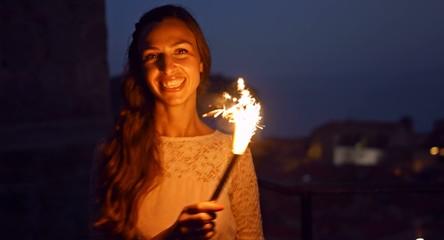 Beautiful Night Happy Woman Celebrating Dancing Joy Happiness