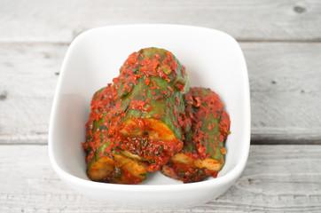 Korean cuisine, cucumber kim chi  in a small appetizer bowl