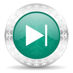 next green icon, christmas button
