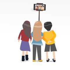 Three People selfie together with smartphone and stick isolated