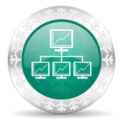 network green icon, christmas button, lan sign