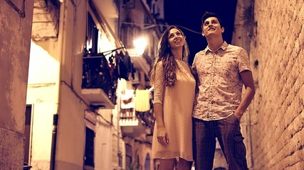 Beautiful Romantic Young Couple Walking Streets Travel Tourists